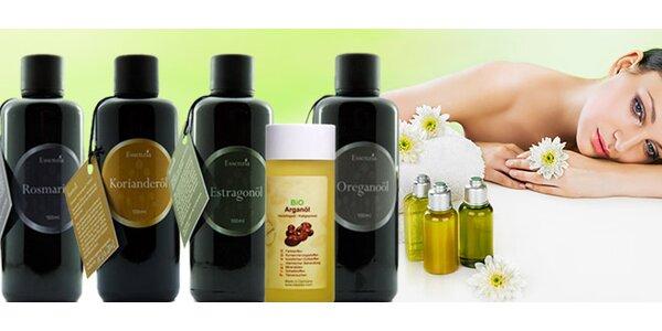 Prírodné oleje z rozmarínu, oregana, argánu, estragónu alebo koriandru