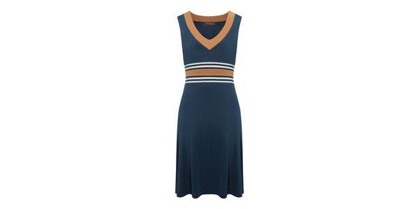 Dámske oceľovo modré šaty s oranžovými detailami Fever