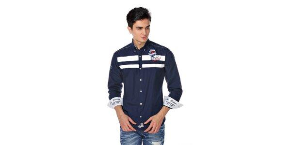 Pánska tmavo modrá košeľa s bielymi pruhmi M. Conte