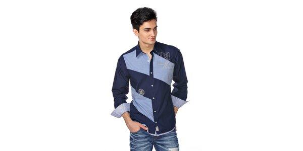 Pánska tmavo modrá košeľa se svetlo modrými pruhmi M. Conte