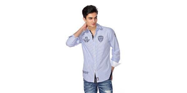 Pánska modro-biela pruhovaná košeľa M. Conte