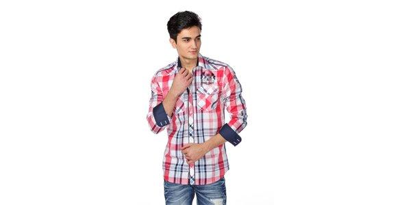 Pánska modro-červeno-biela kockovaná košeľa M. Conte