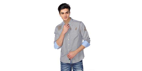 Pánska jemne prúžkovaná košeľa s hnědými detailami M. Conte