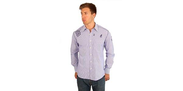 Pánska jemne prúžkovaná fialovo-biela košeľa M. Conte