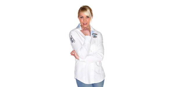 Dámska biela košeľa M. Conte s výšivkou