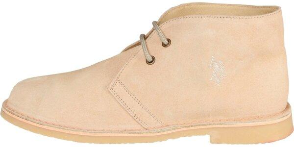 Pánske svetlo béžové semišové topánky U.S. Polo