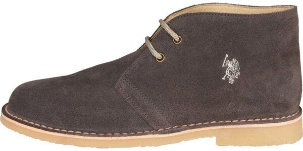 Pánske tmavo hnedé semišové topánky U.S. Polo