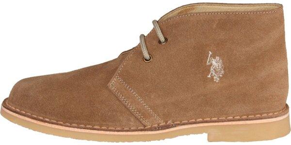 Pánske orieškovo hnedé semišové topánky U.S. Polo