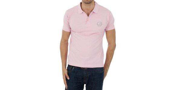 Pánske svetlo ružové polo Polo Club s výšivkou