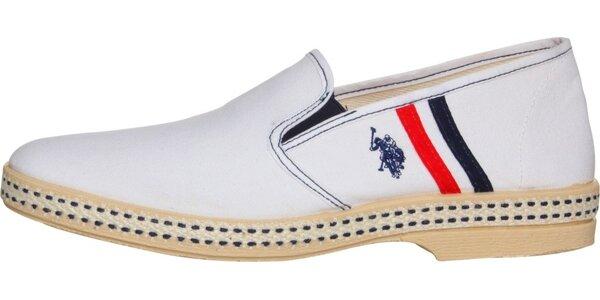 Pánske biele textilné mokasíny U.S. Polo