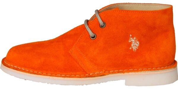 e9cfdaddc3f8 Dámske sýto oranžové semišové topánky U.S. Polo