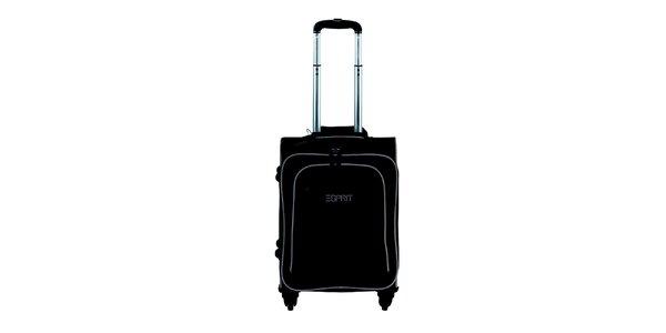 Čierno-béžový malý kufor na kolieskach Esprit