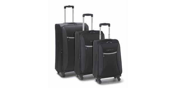 Čierno-šedý set troch kuforov na kolieskach Esprit
