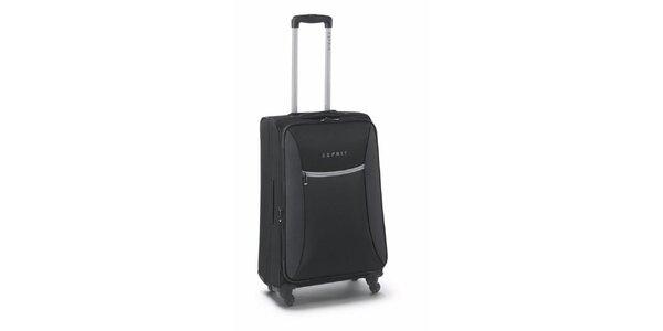 Čierno-šedý stredne veľký kufor na kolieskach Esprit