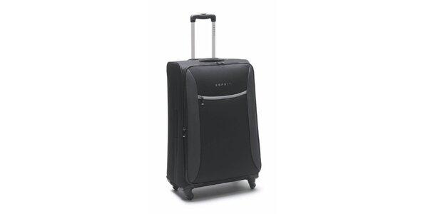Čierno-šedý veľký kufor na kolieskach Esprit
