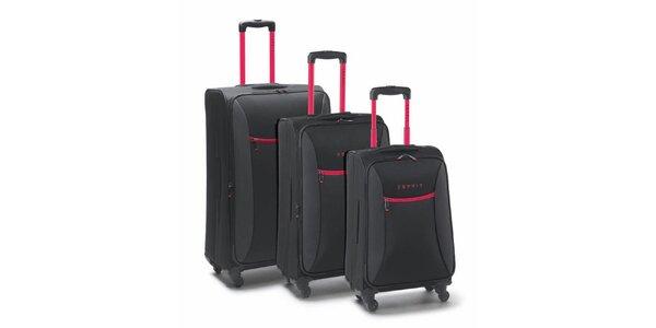 Čierno-ružový set troch kuforov na kolieskach Esprit