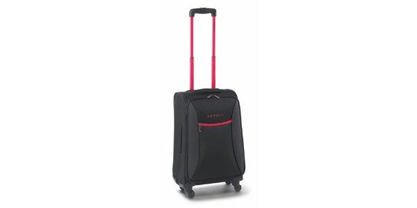 Čierno-ružový malý kufor na kolieskach Esprit