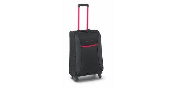 Čierno-ružový stredne veľký kufor na kolieskach Esprit