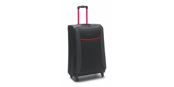Čierno-ružový veľký kufor na kolieskach Esprit