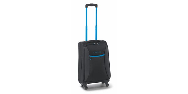 Čierno-tyrkysový malý kufor na kolieskach Esprit