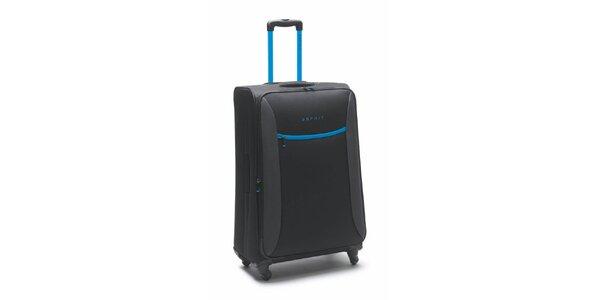 Čierno-tyrkysový veľký kufor na kolieskach Esprit