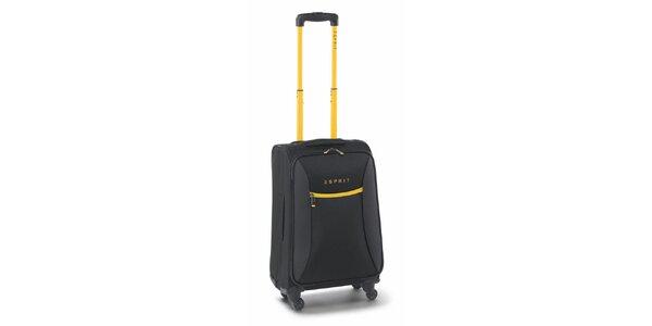 Čierno-žltý malý kufor na kolieskach Esprit