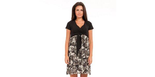 Dámske čierno-biele šaty Conquista s potlačou