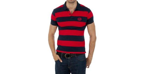 Pánske modro-červené prúžkované polo Polo Club