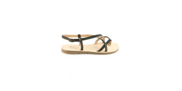 Dámske čierne kožené sandále Pelledoca