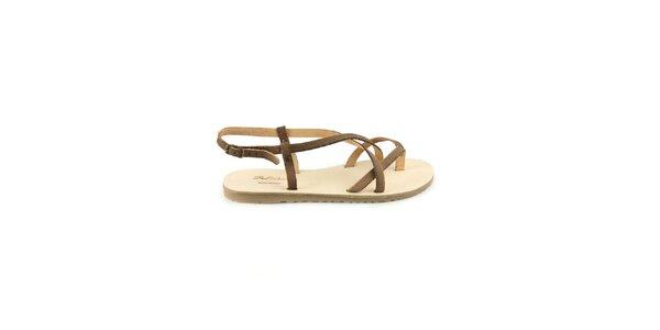 Dámske tmavo hnedé kožené sandále Pelledoca