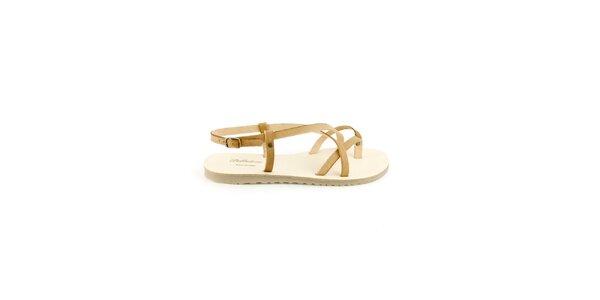 Dámske béžové kožené sandále Pelledoca
