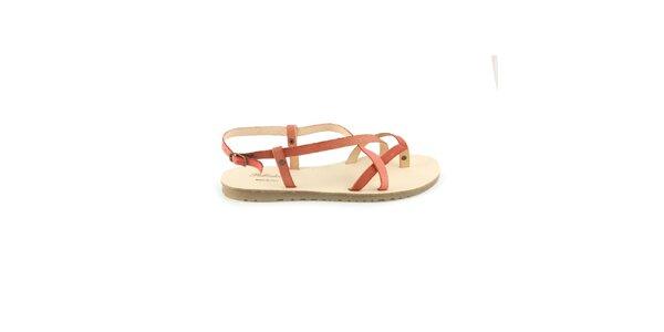 Dámske červené kožené sandále Pelledoca
