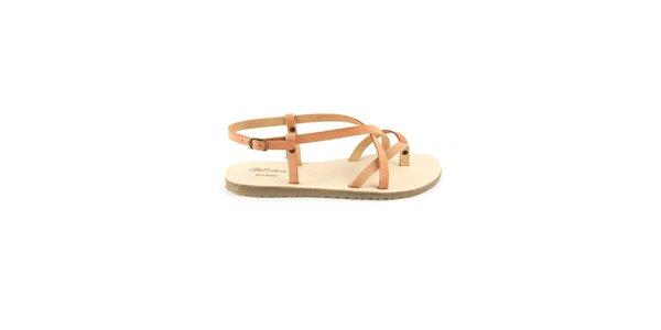 Dámske ružovohnedé kožené sandále Pelledoca
