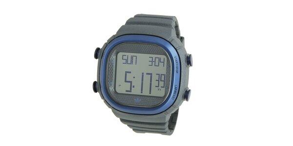 Tmavo šedé digitálne hodinky Adidas s modrými detailami