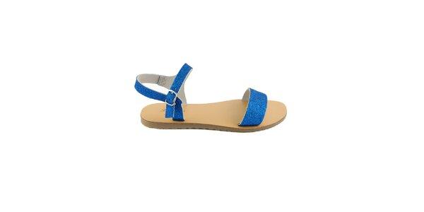 Dámske modré kožené sandále Pelledoca s trblietkami