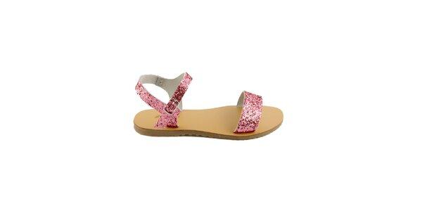 Dámske ružové kožené sandále Pelledoca s trblietkami