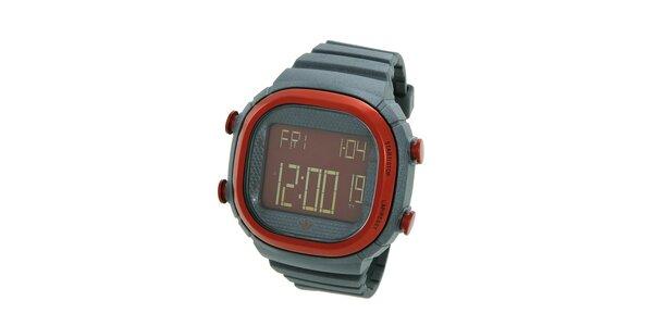 Tmavo šedé digitálne hodinky Adidas s červenými detailami