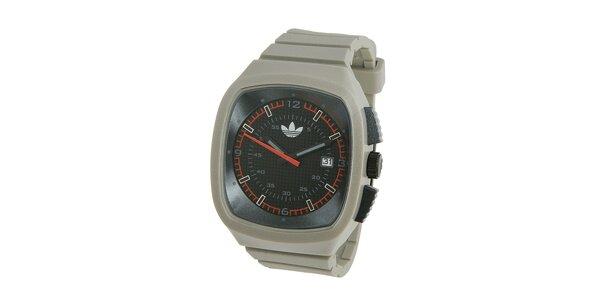Svetlo šedé silikónové hodinky Adidas s metalickým odleskom
