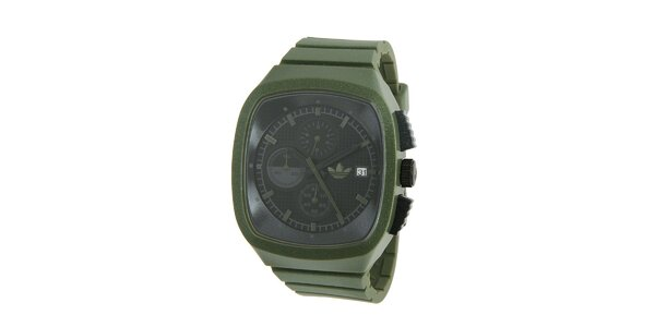 Tmavo zelené silikónové hodinky Adidas s metalickým odleskom