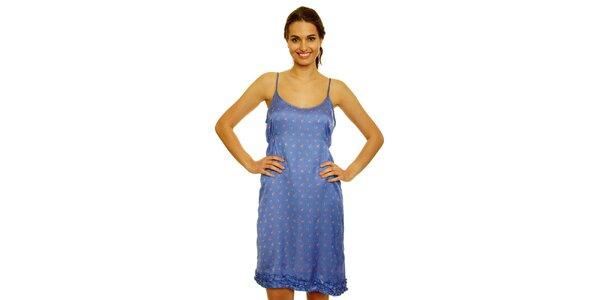 Dámske modré šaty s kvetinkami Nice Things