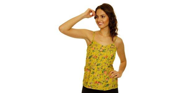 Dámske žlté tielko s kvetinovým vzorom Nice Things