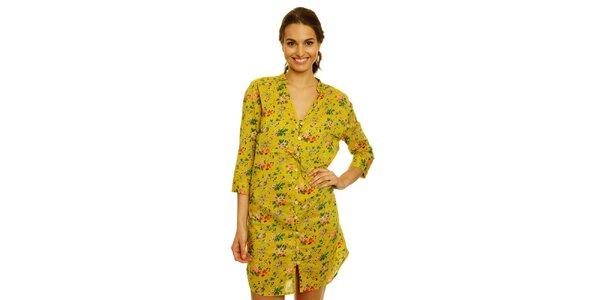Dámske žlté košeľové šaty s kvetinovým vzorom Nice Things