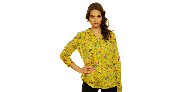 Dámska žltá košeľa s kvetinovým vzorom Nice Things