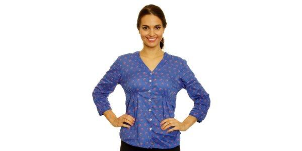 Dámska modrá košeľa s kvetinkami Nice Things
