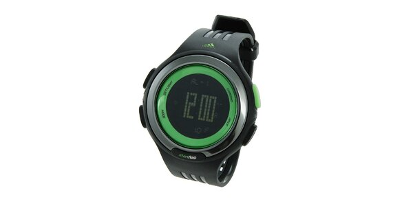 Čierne športové digitálne hodinky Adidas so zelenými detailami