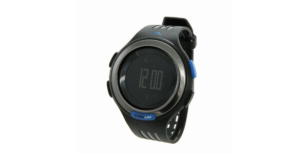 Čierne digitálne hodinky Adidas s modrými detailami