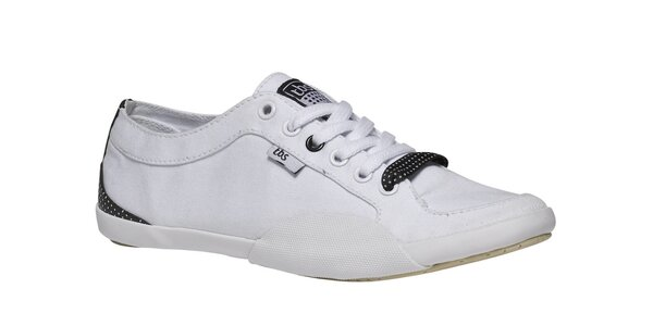 Dámske biele tenisky s bielou podrážkou a čiernymi detailami TBS