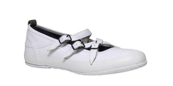 Dámske biele baleríny s bielou podrážkou TBS