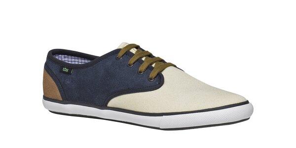 Pánske modro-krémovo-hnedé topánky TBS