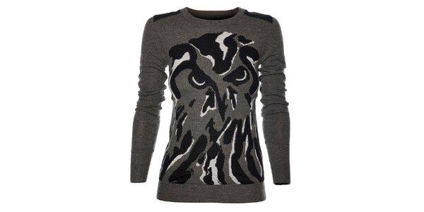 Dámsky šedý sveterík Eleven Paris so sovou